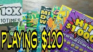 Playing $120. 10X win. Lottery scratch tickets