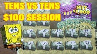 Playing the tens. $100 in Lottery scratch tickets.