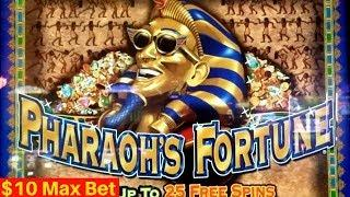 Pharaohs FORTUNE Slot Machine $10 Max Bet Bonuses | Live Slot Play
