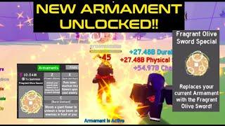 I unlocked ARMAMENT *NEW* OLIVE FRAGRANT SWORD in Roblox Anime Fighting Simulator