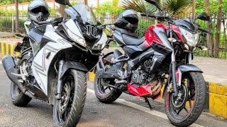 He Challenged me to race | NS200 vs R15 V3 |Friendly Street Race | Ns with Pillion