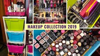 MY MAKEUP COLLECTION & STORAGE 2019 - MAKEUP DECLUTTER & ORGANISATION in BUDGET - BEAUTY INFINITE