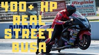 NITROUS HAYABUSA BATTLES STRETCHED ALL MOTOR GSXR 1000 in REAL STREET MOTORCYCLE DRAG RACING AT XDA