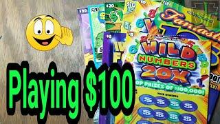 $100 Smorgasbord of lottery scratch tickets