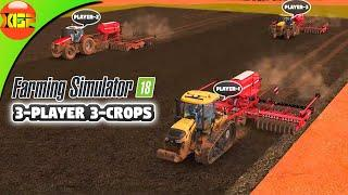 Farming Simulator 18 3-Player Multiplayer Gameplay-  3-Player 3-Crops