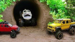 Monster Cars In The Cave Attack Car Toys Police Car, Helicopter | Car Toys Video For Children