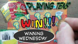 Winning Wednesday. Playing Tens.  $90 in Lottery Scratch Tickets.