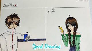 Anime Couple Texting// Speed Drawing/Color