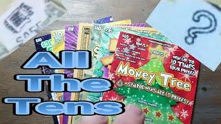 Playing Tens. Lottery scratch tickets.