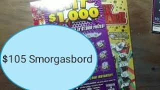 $105 Smorgasbord of lottery scratch tickets