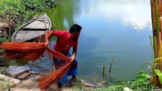 Best Net Fishing। Big Fish Hunting By Cast Net। Net Fishing in the Village (part-98)
